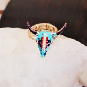 Jewelry - Aztec Western Turquoise Bullhead Steer Gold Ring